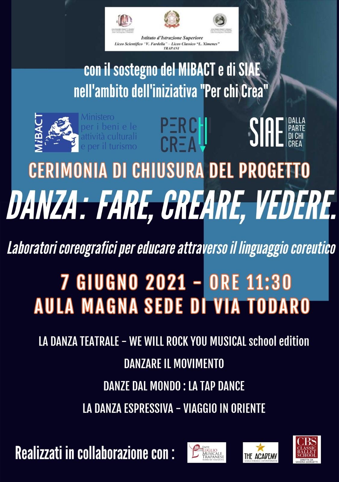 """Progetto """"Danza: fare, vedere, creare - SIAE per chi crea 2019"""", cerimonia di chiusura"""